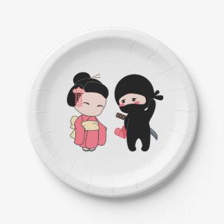 Valentine Ninja and Geisha Paper Plate