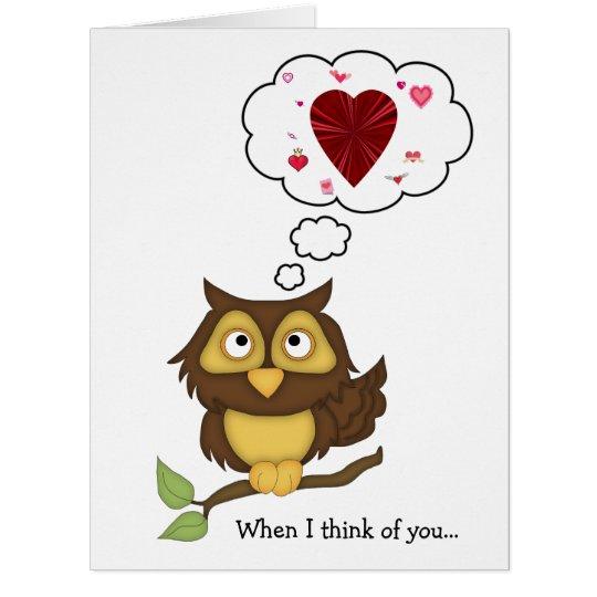 Valentine Owl Humour-Cute Hearts Card