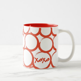 Valentine Painted XOXO Two-Tone Coffee Mug