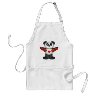 Valentine Panda Bear Holding String of Red Hearts Apron