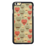 Valentine pattern with heart and moustache carved maple iPhone 6 plus case