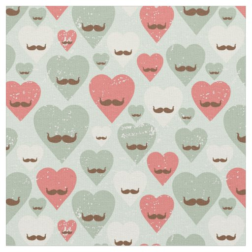 Valentine pattern with heart and moustache fabric