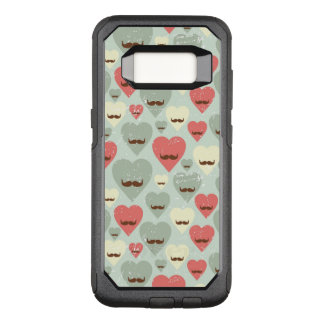 Valentine pattern with heart and mustache OtterBox commuter samsung galaxy s8 case
