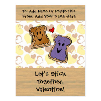 Valentine Peanut Butter and Jelly Postcard