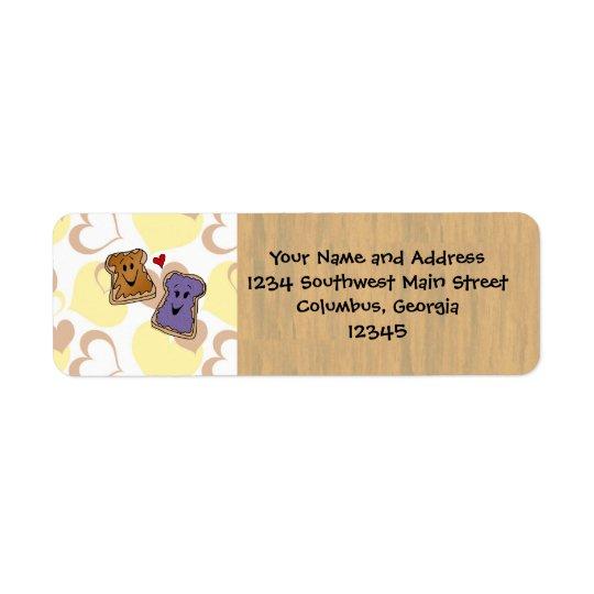 Valentine Peanut Butter and Jelly Return Address Label