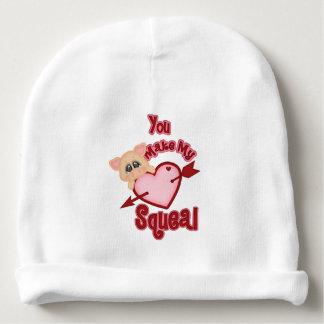 Valentine Pig Heart Squeal Baby Beanie