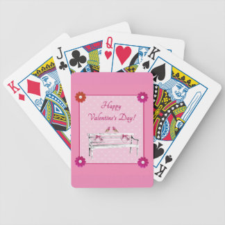 Valentine, Pink and White Birds on Bench, Heart Bicycle Playing Cards
