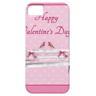 Valentine, Pink and White Birds on Bench, Heart Case For The iPhone 5