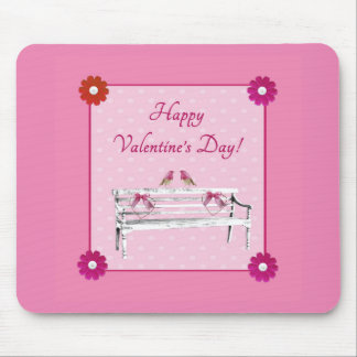 Valentine, Pink and White Birds on Bench, Heart Mouse Pad
