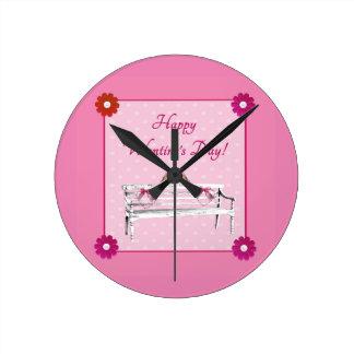 Valentine, Pink and White Birds on Bench, Heart Round Clock