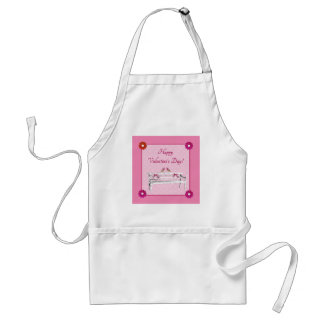 Valentine, Pink and White Birds on Bench, Heart Standard Apron