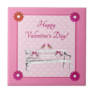 Valentine, Pink and White Birds on Bench, Heart Tile