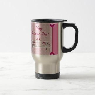 Valentine, Pink and White Birds on Bench, Heart Travel Mug