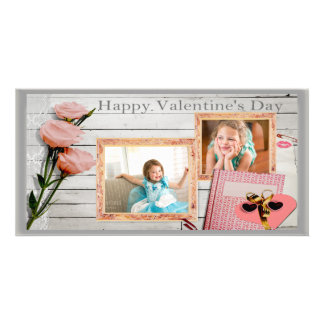 Valentine, Pink Roses, Heart Two Frames Photo Card