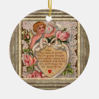 Valentine Poem Cupid Ceramic Ornament