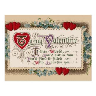 Valentine Poem With Hearts Postcard