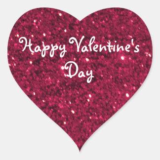 Valentine Red Glitter Heart Sticker