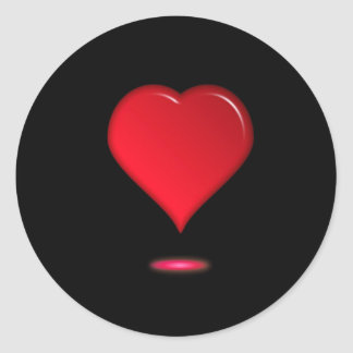 Valentine Red Heart Exclamation Classic Round Sticker