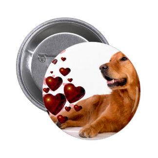 Valentine Red Hearts Golden Retriever Dog 2 Inch Round Button