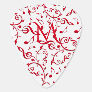 Valentine Red Music Notes Pattern Guitar Pick