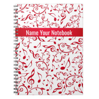 Valentine Red Music Notes Pattern Notebook