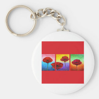 Valentine Red Poppies Painting - Multi Basic Round Button Keychain