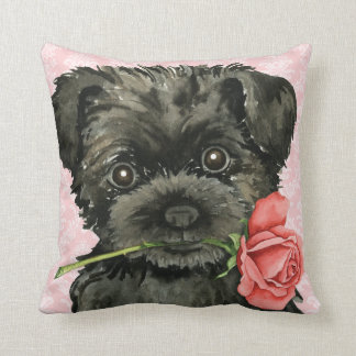 Valentine Rose Affenpinscher Throw Pillow