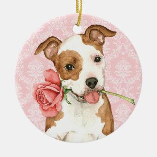 Valentine Rose Am Staff Round Ceramic Ornament