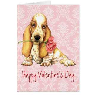 Valentine Rose Basset Greeting Card