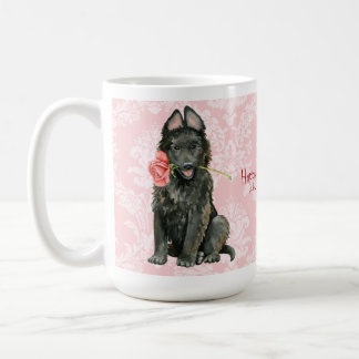 Valentine Rose Belgian Sheepdog Coffee Mug