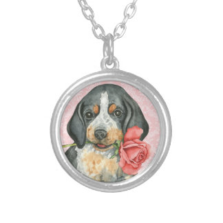 Valentine Rose Bluetick Silver Plated Necklace