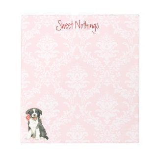 Valentine Rose Border Collie Notepad