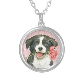 Valentine Rose Border Collie Silver Plated Necklace