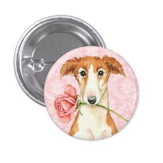 Valentine Rose Borzoi 1 Inch Round Button
