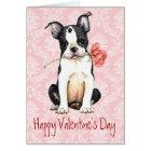 Valentine Rose Boston Terrier Card