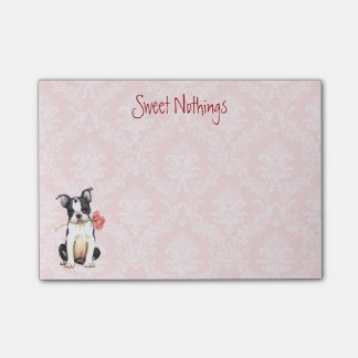 Valentine Rose Boston Terrier Post-it Notes