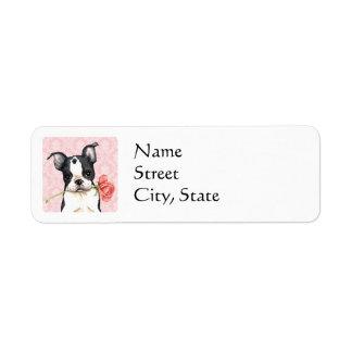 Valentine Rose Boston Terrier Return Address Label