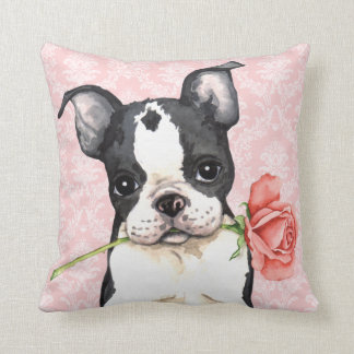 Valentine Rose Boston Terrier Throw Pillow