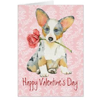Valentine Rose Cardigan Welsh Corgi Card