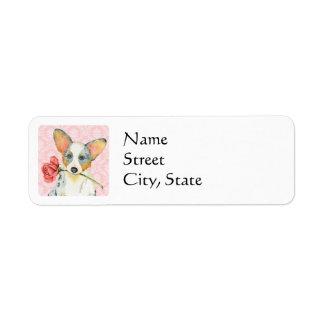 Valentine Rose Cardigan Welsh Corgi Return Address Label
