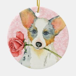 Valentine Rose Cardigan Welsh Corgi Round Ceramic Ornament