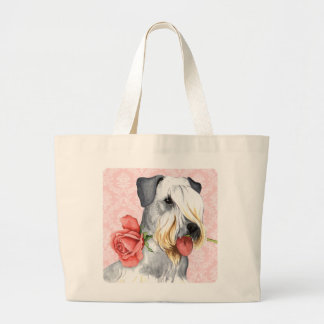 Valentine Rose Cesky Terrier Large Tote Bag