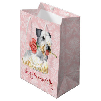 Valentine Rose Cesky Terrier Medium Gift Bag