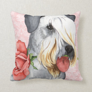 Valentine Rose Cesky Terrier Throw Pillow