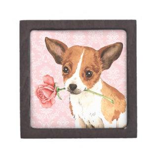 Valentine Rose Chihuahua Premium Keepsake Box