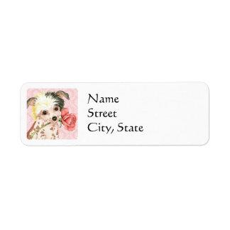 Valentine Rose Chinese Crested Return Address Label