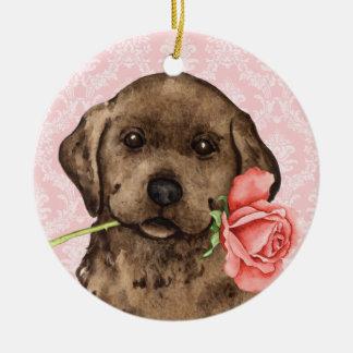 Valentine Rose Chocolate Lab Round Ceramic Ornament