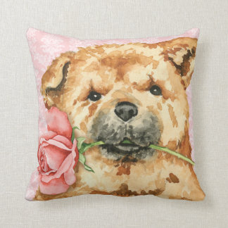 Valentine Rose Chow Throw Pillow