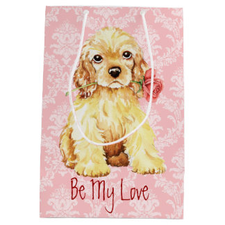 Valentine Rose Cocker Spaniel Medium Gift Bag
