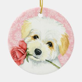 Valentine Rose Coton Ceramic Ornament